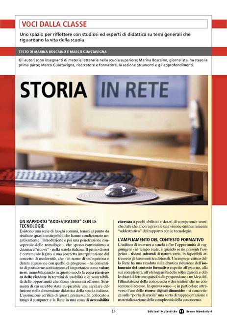 Articolo Storia in rete con Marina Boscaino